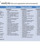 This template gives a long list of suggested areas to look at in your SWOT analysis